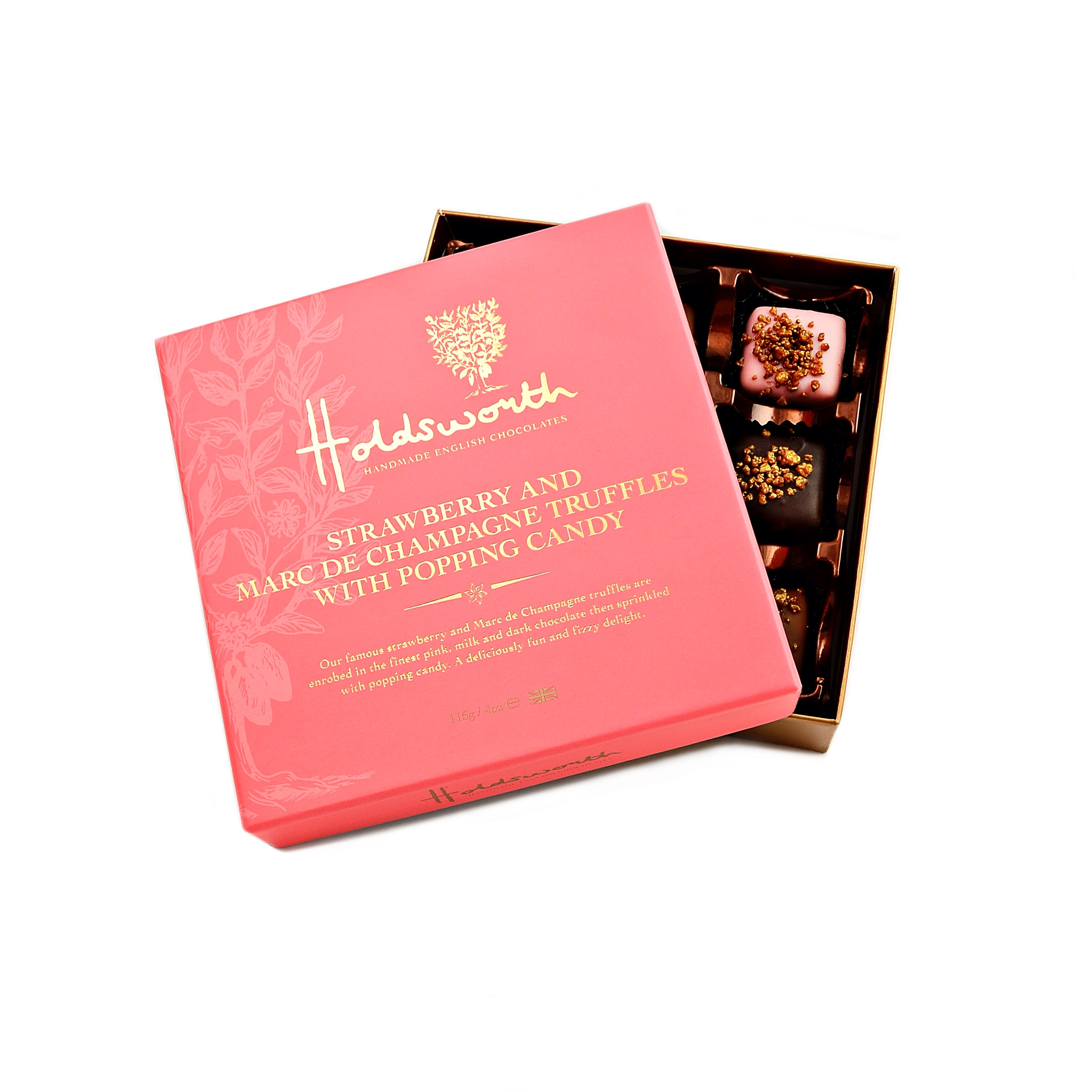 Holdsworth Chocolates Strawberry & Marc de Champagne Truffles with popping candy