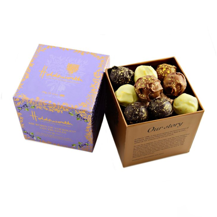 Holdsworth chocolates Sir Robin of Locksley Gin Open box showing truffles